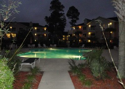 Night time at one pool by condos